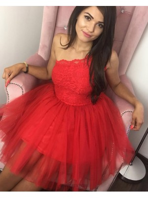 Scoop Red Lace Bodice Ball Gown Short Homecoming Dress