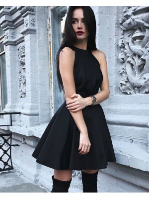 High Neck Black Pleated Satin Simple Homecoming Dress With Open Back