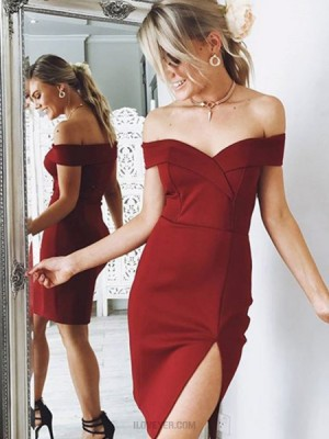 Off The Shoulder Burgundy Tight Satin Homecoming Dress With Slit