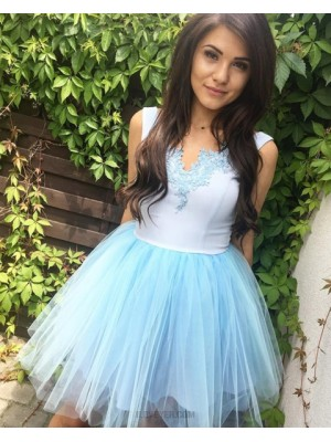 V Neck White And Blue Homecoming Dress With Tulle Skirt Hd3316