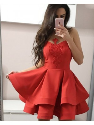 Sheer Appliqued Satin Red Homecoming Dress With Layered Skirt Hd3317