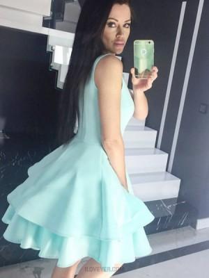 Jewel Cyan Fit & Flare Satin Homecoming Dress With Layered Skirt Hd3318
