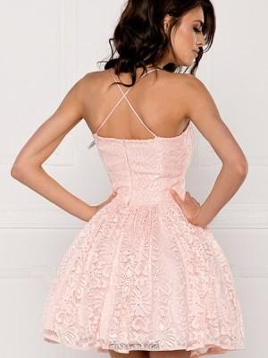 A Line Spaghetti Straps Blush Pink Lace Homecoming Dress Hd3319