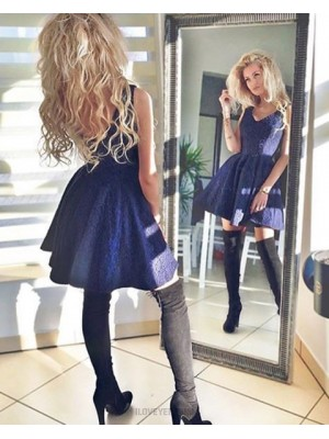 A Line V Neck Navy Blue Pleated Lace Homecoming Dress Hd3325