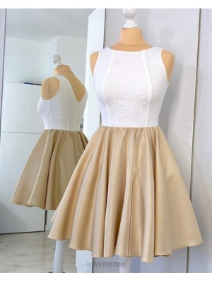 Jewel White And Brown Lace Bodice Homecoming Dress With Pleating Hd3329