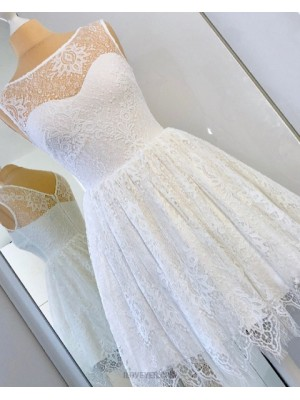 A Line Scoop Ivory Lace Fit & Flare Homecoming Dress Hd3332
