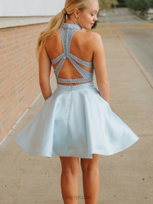 High Neck Dusty Blue Two Piece Homecoming Dress With Pockets Hd3342