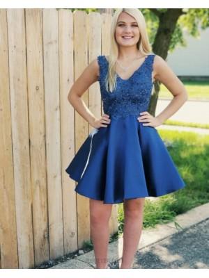A Line V Neck Beading Satin Blue Short Homecoming Dress Hd3343