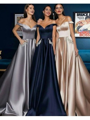 Off The Shoulder Satin Long Pleated Long Evening Dress With Beading Pockets