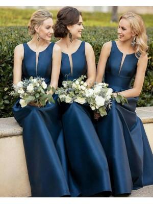 Scoop Neck Navy Blue Empire Mermaid Satin Bridesmaid Dress