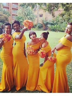 Off The Shoulder Satin Orange Simple Mermaid Long Bridesmaid Dress