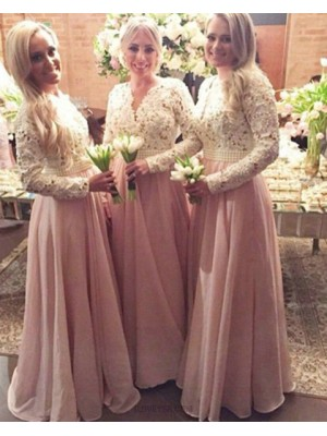 V Neck White And Pink Lace Bodice Long Bridesmaid Dress With Long Sleeves