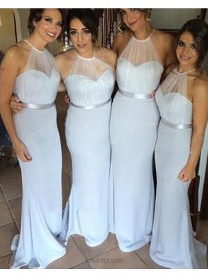 Halter Sheer Bodice Light Blue Mermaid Long Bridesmaid Dress