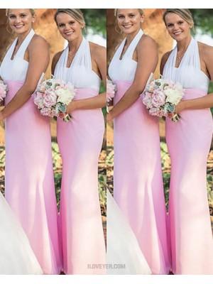 White And Blush Halter Long Mermaid Empire Bridesmaid Dress