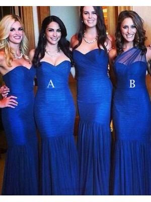 Simple Sweetheart Royal Blue Pleated Mermaid Long Bridesmaid Dress