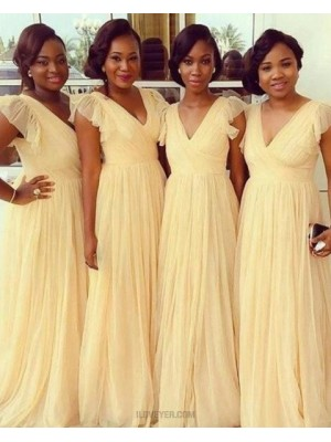 V Neck Yellow Ruched Floor Length Tulle Bridesmaid Dress