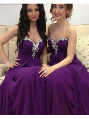 Sweetheart Beading Ruched Purple Long Bridesmaid Dress With Detachable Skirt