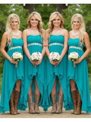 High Low Chiffon Strapless Teal Empire Bridesmaid Dress With Belt
