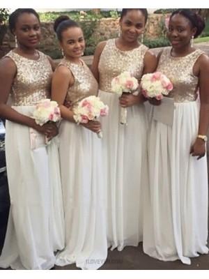 Gold And White Sequined Bodice Chiffon Brush Bridesmaid Dress