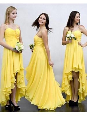 High Low Spaghetti Straps Ruched Flower Chiffon Yellow Bridesmaid Dress