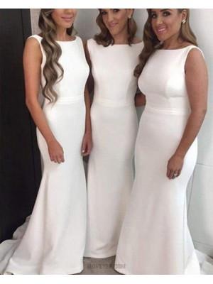 Bateau White Simple Satin Mermaid Floor Length Bridesmaid Dress