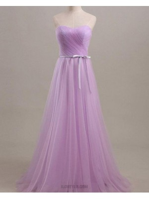 Sweetheart Light Purple Ruched Tulle Bridesmaid Dress With Belt