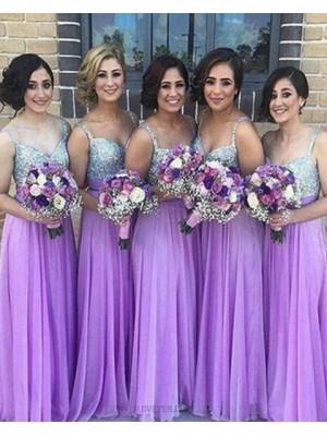 Square Sequined Bodice Chiffon Purple Long Bridesmaid Dress