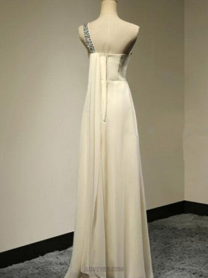 One Shoulder Beading Ruched Tulle Empire Yellow Bridesmaid Dress