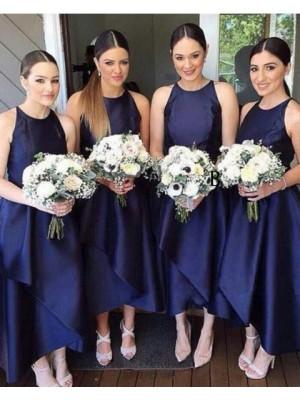 Round Neck Navy Blue Satin Tea Length Bridesmaid Dress