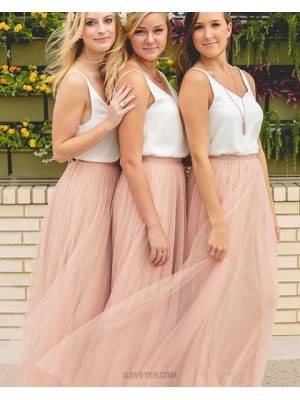 Elegant V Neck White And Pink Tulle Bridesmaid Dress