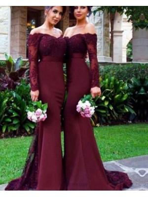 Off The Shoulder Burgundy Appliqued Mermaid Bridesmaid Dress