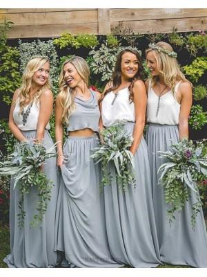 V Neck White And Dusty Blue Chiffon Pleated Long Bridesmaid Dress