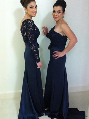 One Shoulder Navy Blue Lace Bodice Mermaid Bridesmaid Dress With Long Sleeve