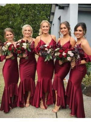 Halter Burgundy Long Mermaid Bridesmaid Dress