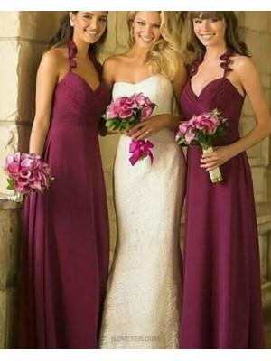 Halter Ruched Burgundy Long Bridesmaid Dress