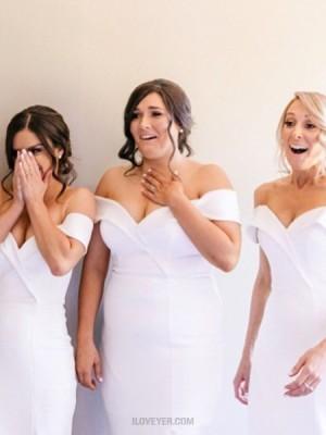 Tea Length White Satin Off The Shoulder Sheath Bridesmaid Dress With Side Slit