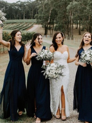 Simple V Neck Ruched Navy Blue Chiffon Bridesmaid Dress With Side Slit