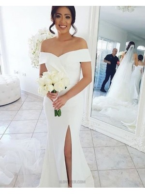 Simple Off The Shoulder White Mermaid Bridesmaid Dress With Side Slit