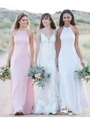 Halter White Chiffon Sheath Simple Long Bridesmaid Dress