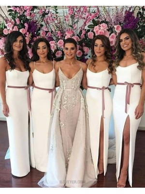 Square White Sheath Elastic Satin Bridesmaid Dress With Side Slit