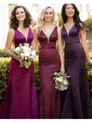 V Neck Burgundy Satin Mermaid Bridesmaid Dress