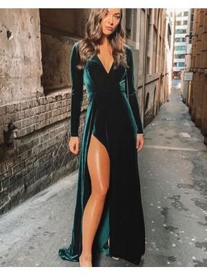 V Neck Velvet Dark Green Bridesmaid Dress With Long Sleeves