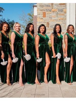 V Neck Green Velvet Sheath Bridesmaid Dress With Side Slit