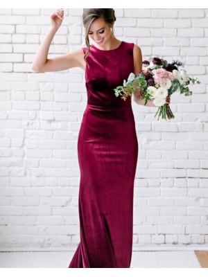 Jewel Neck Burgundy Mermaid Velvet Bridesmaid Dress