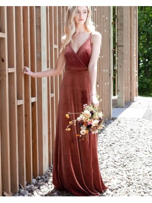 Simple A Line Spaghetti Straps Velvet Bridesmaid Dress