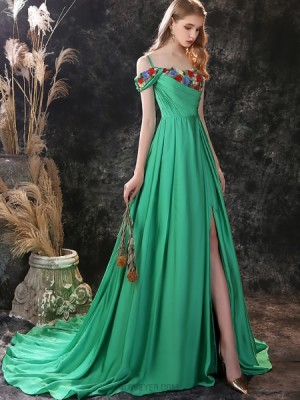 Cold Shoulder Green Embroidery Ruched Satin Evening Dress With Side Slit