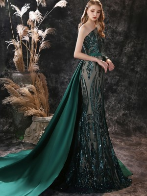 One Shoulder Sequin Green Mermaid Evening Dress With Detached Train