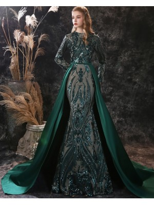 Jewel Green Sequin Mermaid Long Sleeve Evening Dress With Detached Train