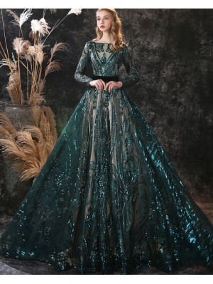 Bateau Green Sequin Lace Evening Dress With Long Sleeves