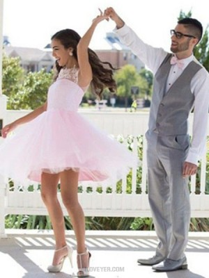 Jewel Neck Lace Applique Pink Tulle Homecoming Dress